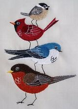 "Embroidered Quilt Block Panel ""Bird Stack"" Pure Irish Linen Fabric"