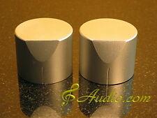 2 pcs 40mmD x 31mmL Silver Color Solid Aluminum Knobs for Audio Equipment DIY