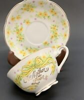 A Mother is Love Hand Tea Cup Painted JAPAN Porcelain Yellow Ribbon and Flowers
