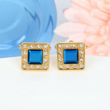 Mens Gold Square Cuff links Saphire Blue Crystal Diamond Shirt Stud Vintage Gift