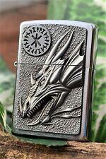 Zippo Lighter - Dragon with Amulet Emblem - Rare European Release - Heavy Plate