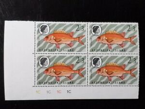 ASCENSION SG 129w MNH Plate Block 1C 1970 Fishes 3rd Series CROWN RIGHT OF CA