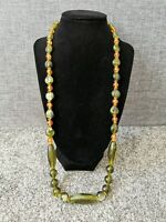 Green Amber Long Clear Plastic Beaded Necklace Retro Vintage Style Costume