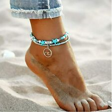 "Blue Multilayer Unicorn Sea Boho Anklet 9"" with 2"" Extension"
