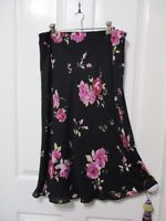 LADIES BLACK FLARED SKIRT WITH  FLOWERS SIZE 14