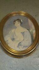 Young Woman  Portrait  , Antique watercolour Painting ,