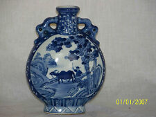 Chinese Qing Dy Kangxi Reign Mark Blue & White Glaze Moon Vase