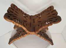 Carved Wooden Butterfly Cookbook Bible Book Holder Folding Stand India Sheesham