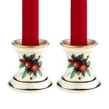 Lenox Holiday Tartan Candlestick Pair w/ Tapers Nib