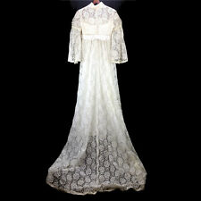 Vintage Wedding Dress Ivory Lace With Train High Choker Neck 3/4 Long Sleeve