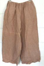 Krista Larson Lagenlook salmon Pants OS 100% LINEN Elastic waist ruffled USA