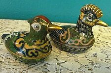 2 Vintage Metalware Brass Chickens With Removable Tops