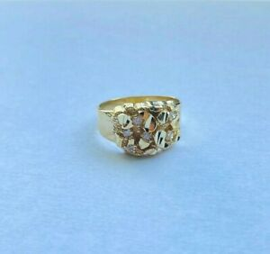 10k Yellow Gold Mens Nugget Large Oval Ring Real Solid Unisex