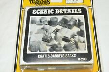 HO scale Woodland Scenics D-203 barrels sacks crates scenic details