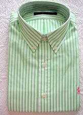 RALPH LAUREN GREEN STRIPE DRESS SHIRT NEW W/TAG $90 PINK LOGO FINE COTTON SZ L