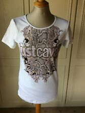 Roberto Cavalli White Patterned Top Size M 10/12