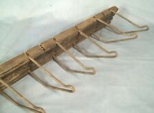 VINTAGE MID CENTURY WOOD+WIRE STEAM PUNK INDUSTRIAL WALL MOUNT HANGER