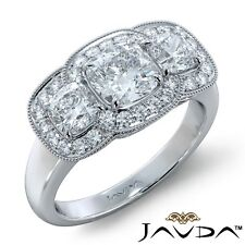 3.55ctw Milgrain Halo 3 Stone Cushion Diamond Engagement Ring GIA F-SI1 W Gold