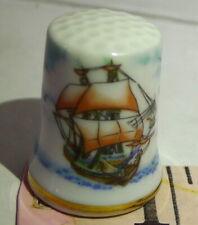 Sailing Schooner Ship Collectors Porcelain Thimble Vintage