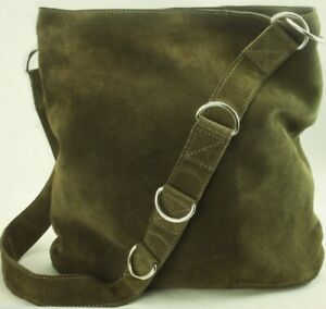 Urban Outfitters Suede Crossbody Olive Green Leather Handbag/Purse Silver Buckle