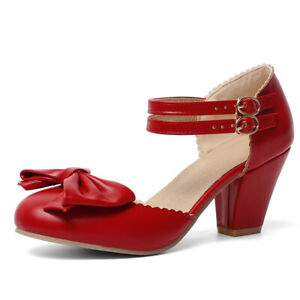Women's Mary Janes Ankle Strap Bow Round Toe Chunky Heel Pumps Shoes US 6 Red