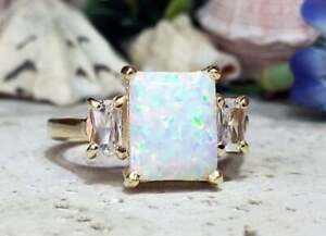 3Ct Emerald Cut Fire Opal Solitaire Women's Engagement Ring 14K Yellow Gold Over