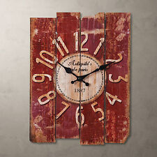 RED Retro Clock Wall Rustic Vintage Style rectangle Clocks Large Art Home Decor