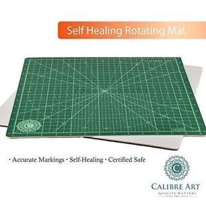 "New Calibre Art 14"" Self Healing Rotating Cutting Mat Quilting Sewing (13"" grid)"