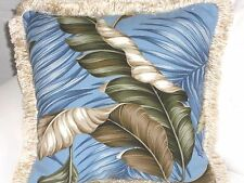 "19"" Tropical Cotton Barkcloth Fabric FRINGED FEATHER PILLOW ~Banana Leaves-Slate"