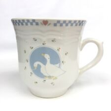 Vintage 80s/90s Geese Ceramic Stoneware White Blue Coffee Mug Tea Cup VGUC