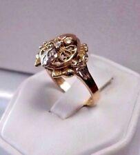 14K TRI-COLOR GOLD DIAMOND FILIGREE DESIGN VINTAGE ESTATE RING Sz 6.5 *BEAUTIFUL