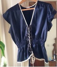 Sass & Bide Navy Cream Silk top Pagan Fairy Pixie Goth With Designer corset 10