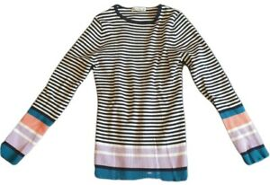 woolovers womens combed cotton contrast stripe ribbed jumper blue white size m