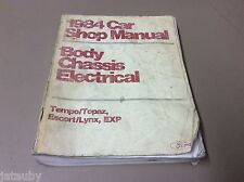 FORD 1984 CAR SHOP MANUAL TEMPO,ESCORT,EXP,BODY,CHASSIS,ELECTRICAL