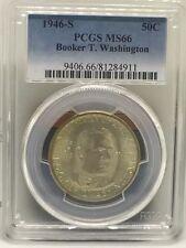 1946-S Booker T Washington Commemorative Half Dollar, 90% Silver Coin, PCGS MS66