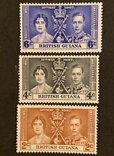British Guiana 1937 stamps Coronation George VI KGVI. MNH