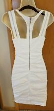 Nicole Miller sz 4 Gold Label White Stretch Ruched Zipper Dress Sheath Body Con