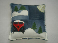 VW Camper Van Cushion Cover, Handmade T1 T2 Denim Scatter , Cushion, Patchwork