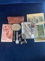 Junk Drawer Antique LOT Limoges Spoon Key Lock Earrings Cards Watch +