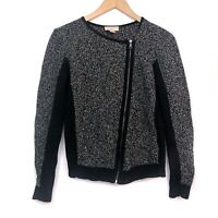 ANN TAYLOR LOFT Black Tweed Zip Up Sweater Moto Motorcycle Jacket PETITE Small