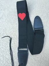 BIG RED HEART on Black Nylon Guitar or Acoustic or Bass Strap
