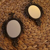 Vintage Pair Italian Mirrors in Brass Ornate Frames made in ITALY Pre-owned