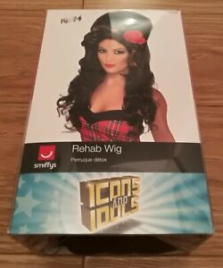 Womens Rehab Brown beehive fancy dress wig Amy Winehouse icons and idols smiffys