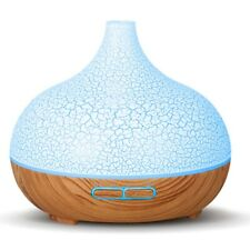 400Ml Air Humidifier with Creative Crackle Light Wood Oil Diffuser Ultraso X9F4