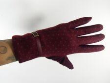 11d32a96110 Gants bordeaux hiver femme laine chauds pois finition simili rétro vintage  pinup