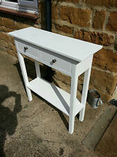 H90 W90 D25cm BESPOKE CONSOLE HALL TELEPHONE TABLE DRAWER WHITE SATIN CHUNKY