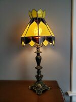 Vintage Tiffany Style L&L Table Lamp Cast Iron Claw Foot
