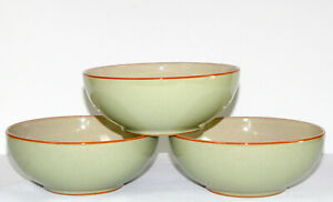 Denby Heritage Orchard * 3 SOUP / CEREAL BOWLS * Apple Green, EXC