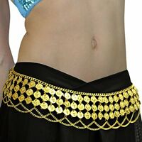 Silver Gold Gypsy Hippie Belly Dance Metal Dangling Coin Chains Belt Adjustable