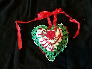 Small Green Red and White Crochet Heart Pillow Decoration Wall Hanging Christmas